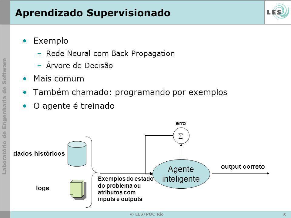 5 © LES/PUC-Rio Aprendizado Supervisionado Exemplo –Rede Neural com Back Propagation –Árvore de Decisão Mais comum Também chamado: programando por exe