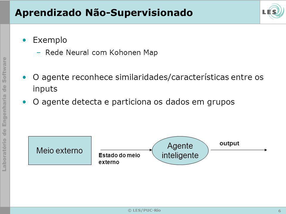 6 © LES/PUC-Rio Aprendizado Não-Supervisionado Exemplo –Rede Neural com Kohonen Map O agente reconhece similaridades/características entre os inputs O