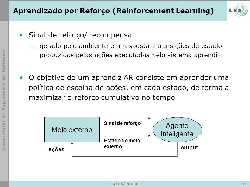 8 © LES/PUC-Rio Aprendizado por Reforço (Reinforcement Learning) Sinal de reforço/ recompensa –gerado pelo ambiente em resposta a transições de estado