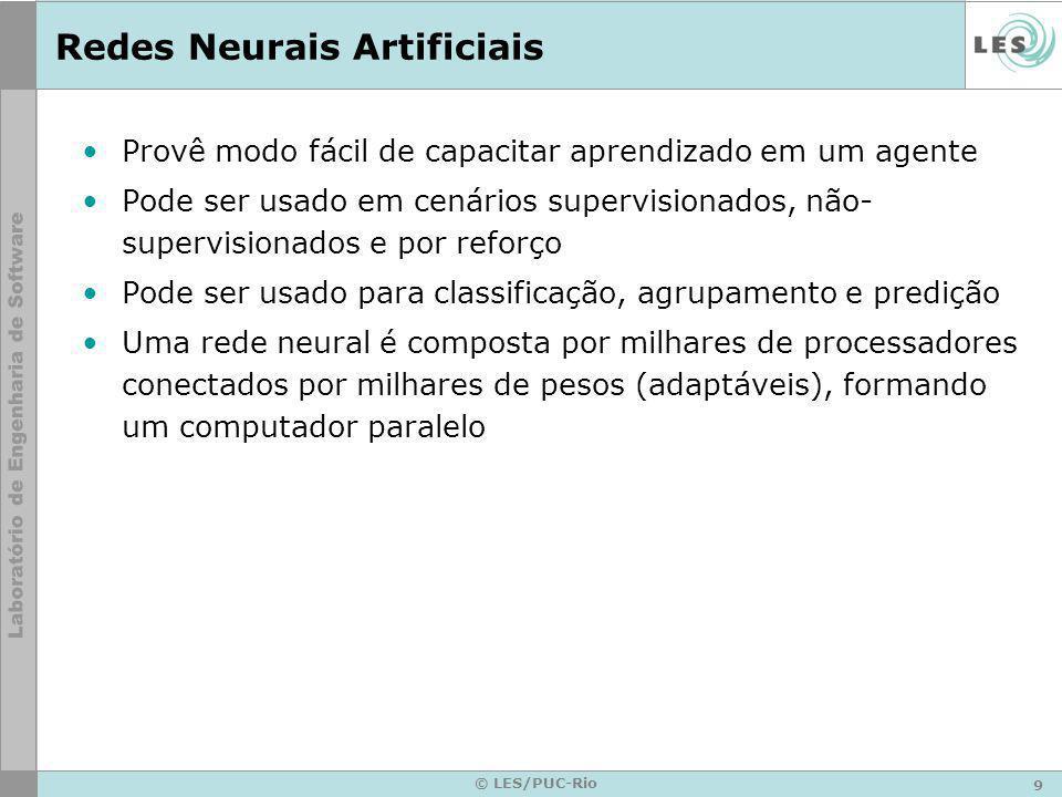 9 © LES/PUC-Rio Redes Neurais Artificiais Provê modo fácil de capacitar aprendizado em um agente Pode ser usado em cenários supervisionados, não- supe