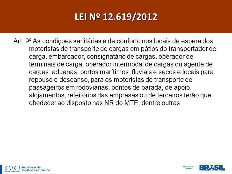 Art. 9º As condições sanitárias e de conforto nos locais de espera dos motoristas de transporte de cargas em pátios do transportador de carga, embarca