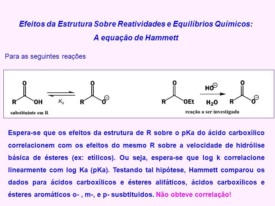Efeitos da Estrutura Sobre Reatividades e Equilíbrios Químicos: A equação de Hammett Para as seguintes reações Espera-se que os efeitos da estrutura d
