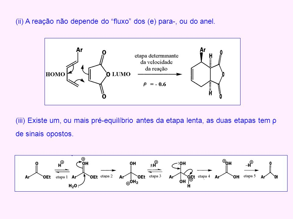 (ii) A reação não depende do fluxo dos (e) para-, ou do anel. (iii) Existe um, ou mais pré-equilíbrio antes da etapa lenta, as duas etapas tem ρ de si