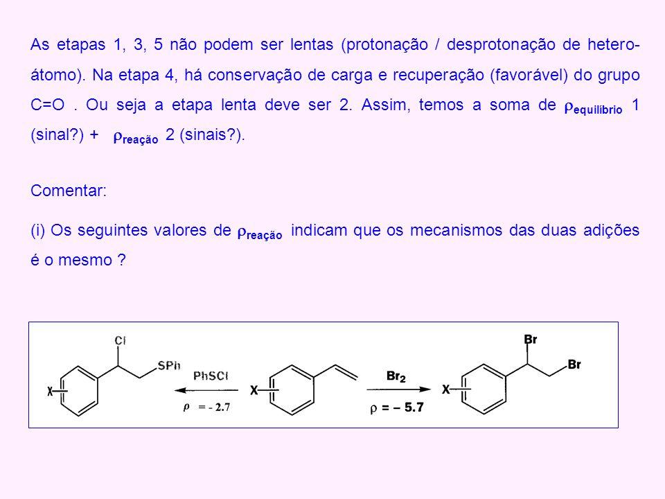 As etapas 1, 3, 5 não podem ser lentas (protonação / desprotonação de hetero- átomo). Na etapa 4, há conservação de carga e recuperação (favorável) do