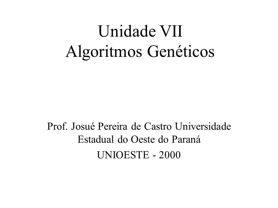 Unidade VII Algoritmos Genéticos Prof. Josué Pereira de Castro Universidade Estadual do Oeste do Paraná UNIOESTE - 2000