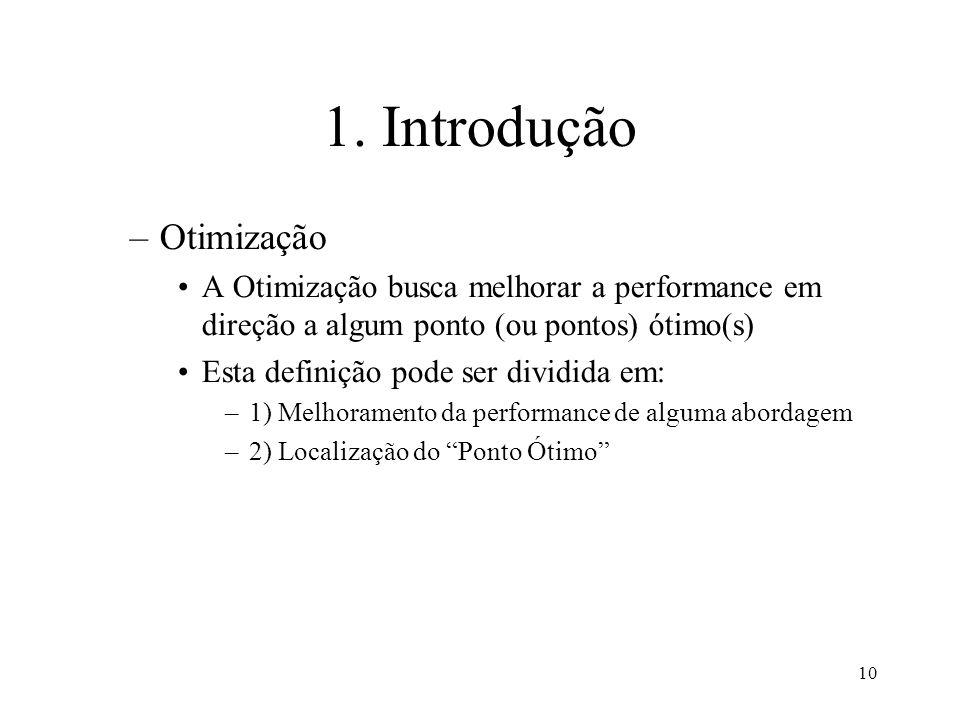 10 1. Introdução –Otimização A Otimização busca melhorar a performance em direção a algum ponto (ou pontos) ótimo(s) Esta definição pode ser dividida