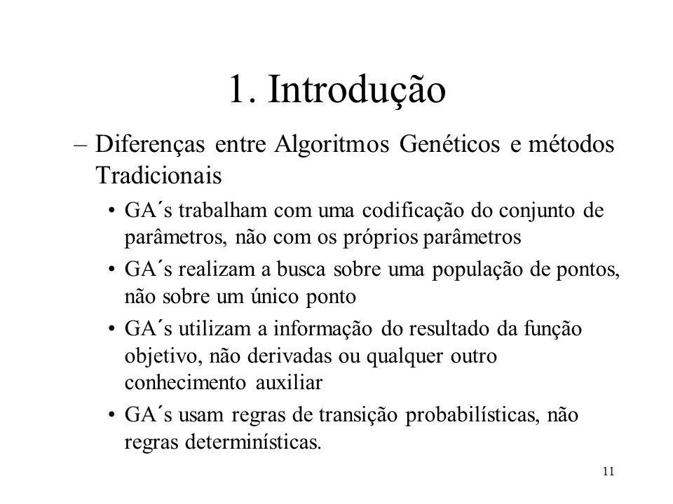 11 1. Introdução –Diferenças entre Algoritmos Genéticos e métodos Tradicionais GA´s trabalham com uma codificação do conjunto de parâmetros, não com o