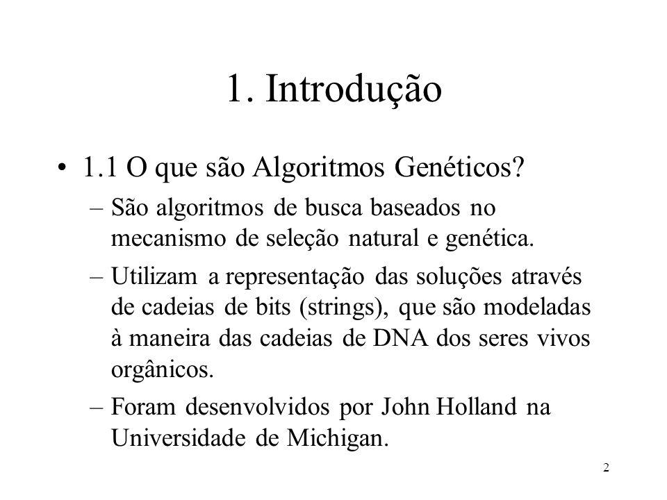 2 1. Introdução 1.1 O que são Algoritmos Genéticos? –São algoritmos de busca baseados no mecanismo de seleção natural e genética. –Utilizam a represen
