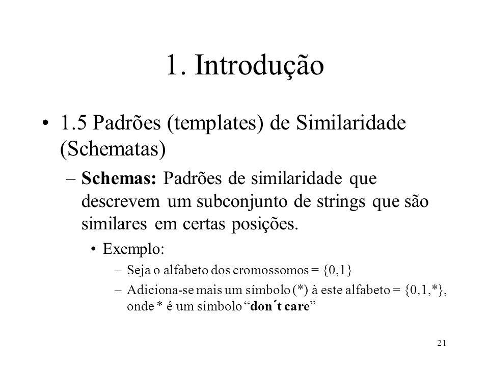 21 1. Introdução 1.5 Padrões (templates) de Similaridade (Schematas) –Schemas: Padrões de similaridade que descrevem um subconjunto de strings que são