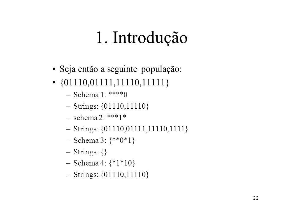 22 1. Introdução Seja então a seguinte população: {01110,01111,11110,11111} –Schema 1: ****0 –Strings: {01110,11110} –schema 2: ***1* –Strings: {01110
