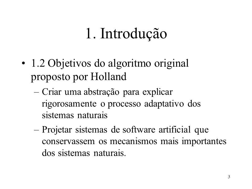 3 1. Introdução 1.2 Objetivos do algoritmo original proposto por Holland –Criar uma abstração para explicar rigorosamente o processo adaptativo dos si