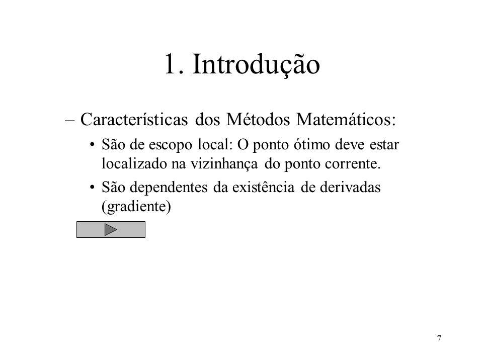 7 1. Introdução –Características dos Métodos Matemáticos: São de escopo local: O ponto ótimo deve estar localizado na vizinhança do ponto corrente. Sã