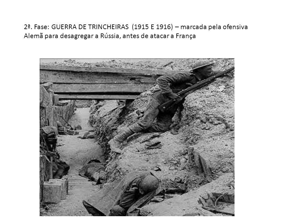 2ª. Fase: GUERRA DE TRINCHEIRAS (1915 E 1916) – marcada pela ofensiva Alemã para desagregar a Rússia, antes de atacar a França