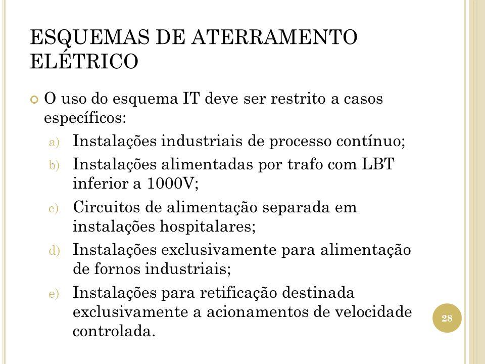 ESQUEMAS DE ATERRAMENTO ELÉTRICO O uso do esquema IT deve ser restrito a casos específicos: a) Instalações industriais de processo contínuo; b) Instal