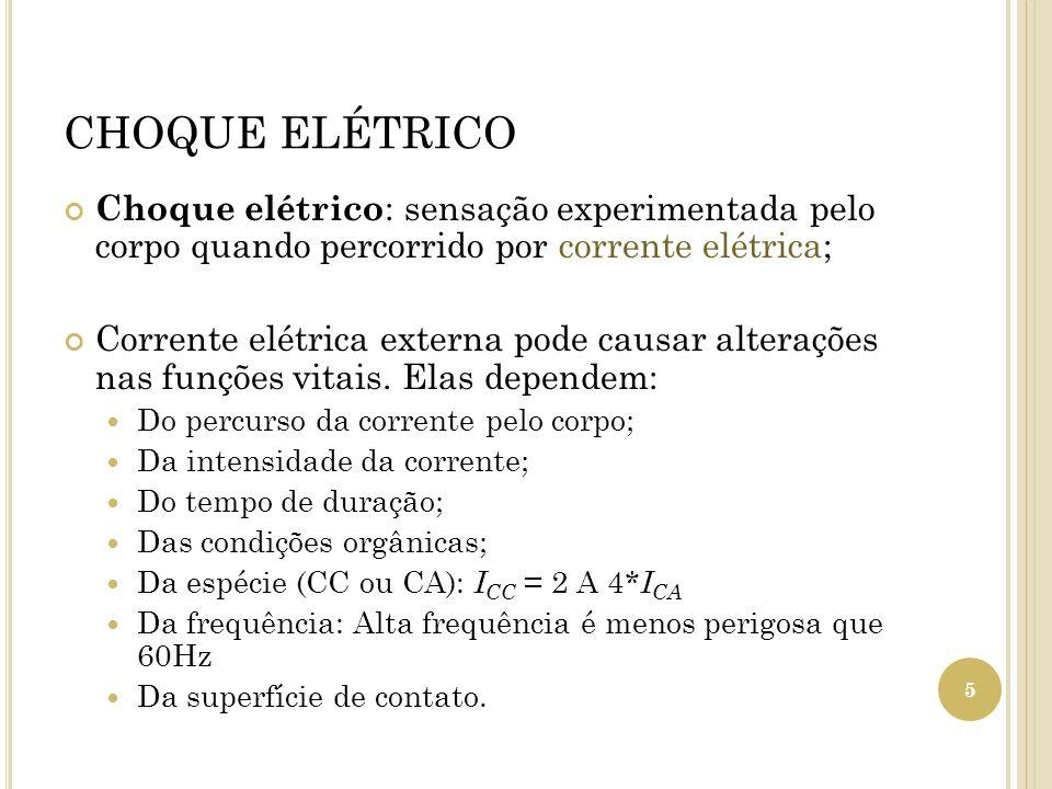 CHOQUE ELÉTRICO Choque elétrico : sensação experimentada pelo corpo quando percorrido por corrente elétrica; Corrente elétrica externa pode causar alt