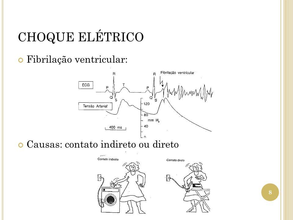 CHOQUE ELÉTRICO Fibrilação ventricular: Causas: contato indireto ou direto 8