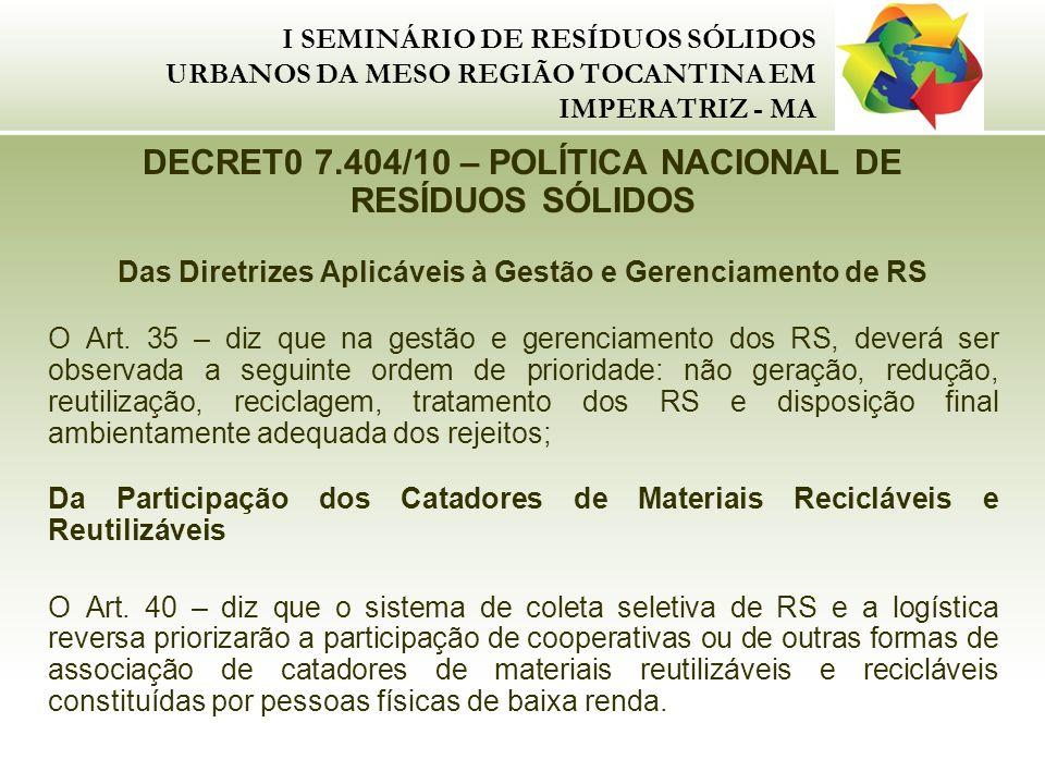 I SEMINÁRIO DE RESÍDUOS SÓLIDOS URBANOS DA MESO REGIÃO TOCANTINA EM IMPERATRIZ - MA DECRET0 7.404/10 – POLÍTICA NACIONAL DE RESÍDUOS SÓLIDOS Das Diret