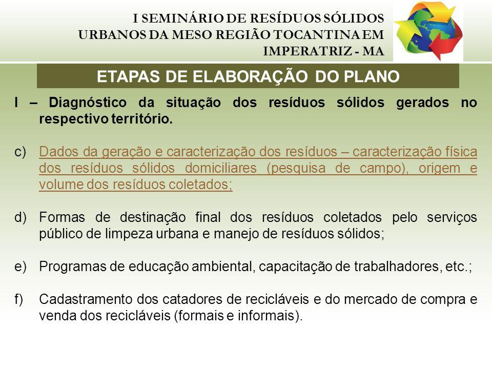 I SEMINÁRIO DE RESÍDUOS SÓLIDOS URBANOS DA MESO REGIÃO TOCANTINA EM IMPERATRIZ - MA I – Diagnóstico da situação dos resíduos sólidos gerados no respec