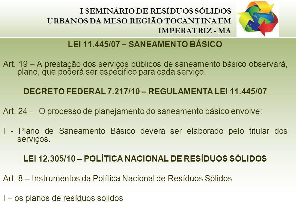 I SEMINÁRIO DE RESÍDUOS SÓLIDOS URBANOS DA MESO REGIÃO TOCANTINA EM IMPERATRIZ - MA LEI 11.445/07 – SANEAMENTO BÁSICO Art. 19 – A prestação dos serviç