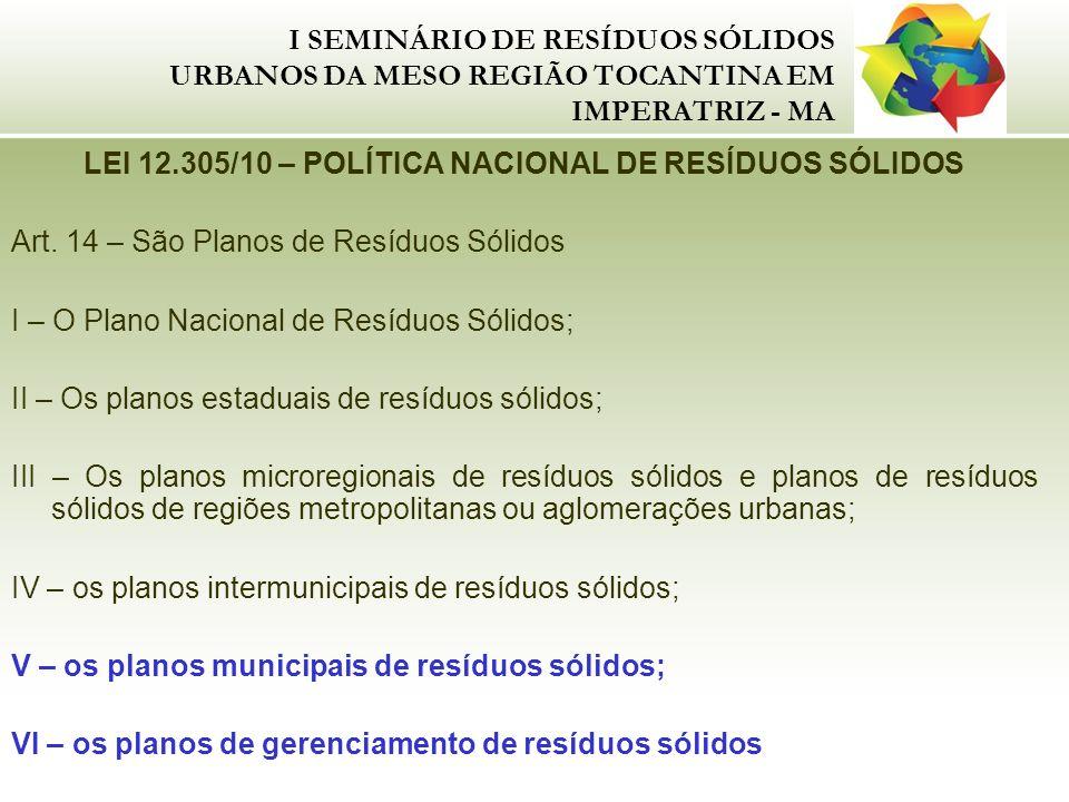 I SEMINÁRIO DE RESÍDUOS SÓLIDOS URBANOS DA MESO REGIÃO TOCANTINA EM IMPERATRIZ - MA LEI 12.305/10 – POLÍTICA NACIONAL DE RESÍDUOS SÓLIDOS Art. 14 – Sã