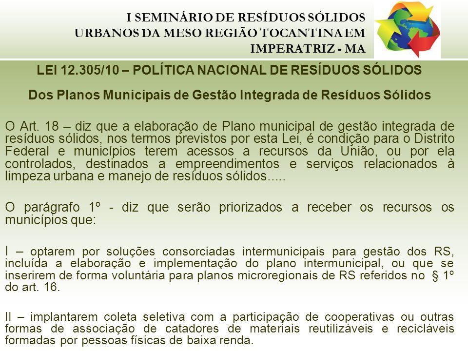 I SEMINÁRIO DE RESÍDUOS SÓLIDOS URBANOS DA MESO REGIÃO TOCANTINA EM IMPERATRIZ - MA LEI 12.305/10 – POLÍTICA NACIONAL DE RESÍDUOS SÓLIDOS Dos Planos M