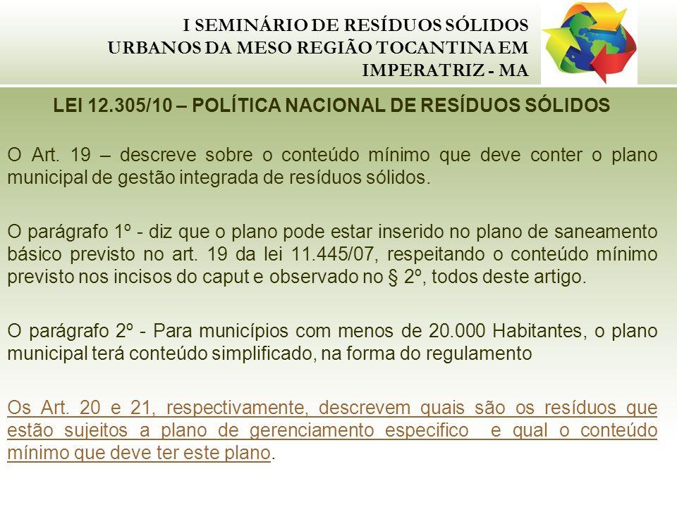 I SEMINÁRIO DE RESÍDUOS SÓLIDOS URBANOS DA MESO REGIÃO TOCANTINA EM IMPERATRIZ - MA LEI 12.305/10 – POLÍTICA NACIONAL DE RESÍDUOS SÓLIDOS O Art. 19 –