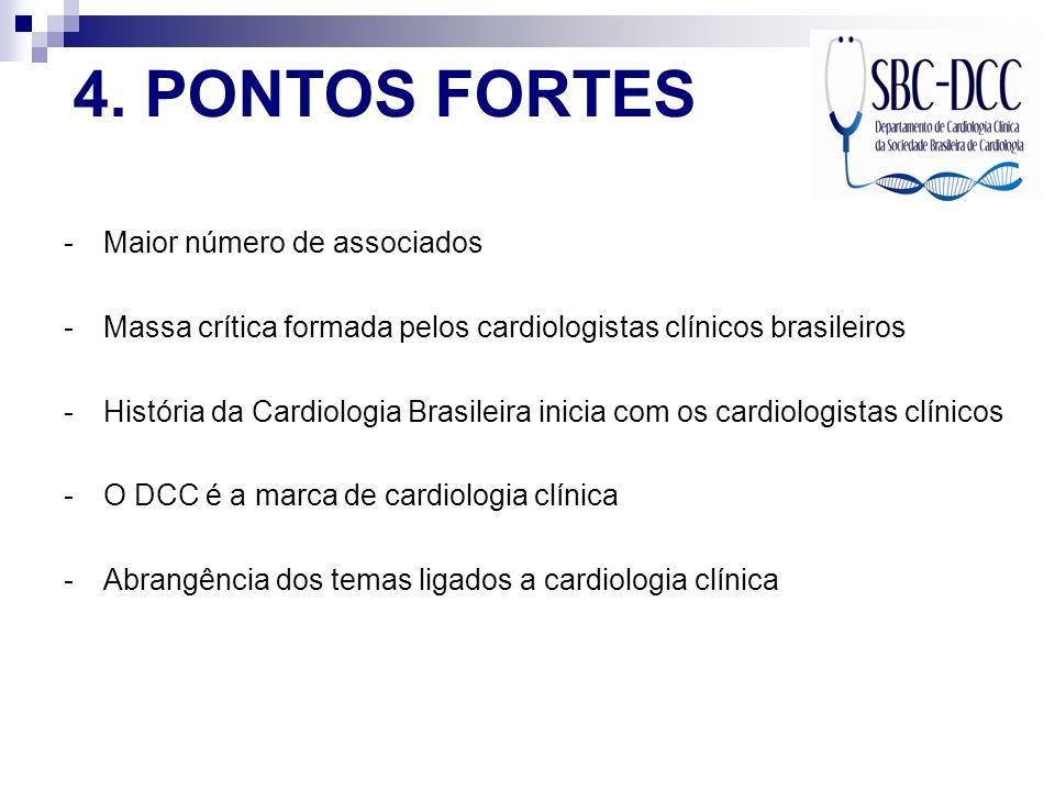 4. PONTOS FORTES -Maior número de associados -Massa crítica formada pelos cardiologistas clínicos brasileiros -História da Cardiologia Brasileira inic