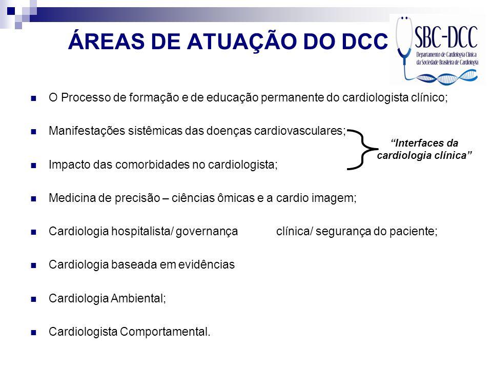ÁREAS DE ATUAÇÃO DO DCC O Processo de formação e de educação permanente do cardiologista clínico; Manifestações sistêmicas das doenças cardiovasculare