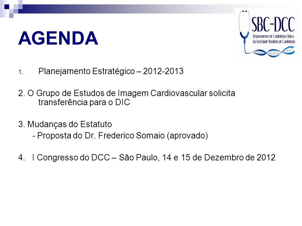 AGENDA 1. Planejamento Estratégico – 2012-2013 2. O Grupo de Estudos de Imagem Cardiovascular solicita transferência para o DIC 3. Mudanças do Estatut