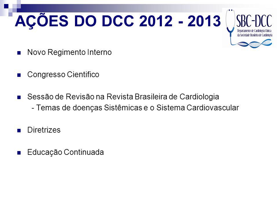 AÇÕES DO DCC 2012 - 2013 Novo Regimento Interno Congresso Cientifico Sessão de Revisão na Revista Brasileira de Cardiologia - Temas de doenças Sistêmi