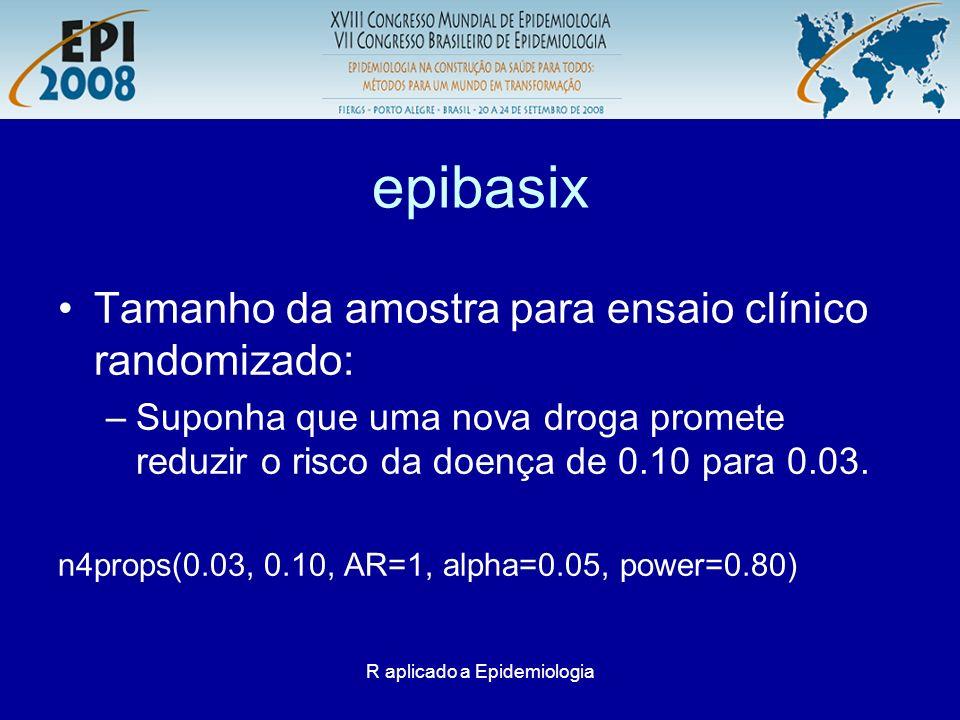 R aplicado a Epidemiologia epibasix Tamanho da amostra para ensaio clínico randomizado: –Suponha que uma nova droga promete reduzir o risco da doença