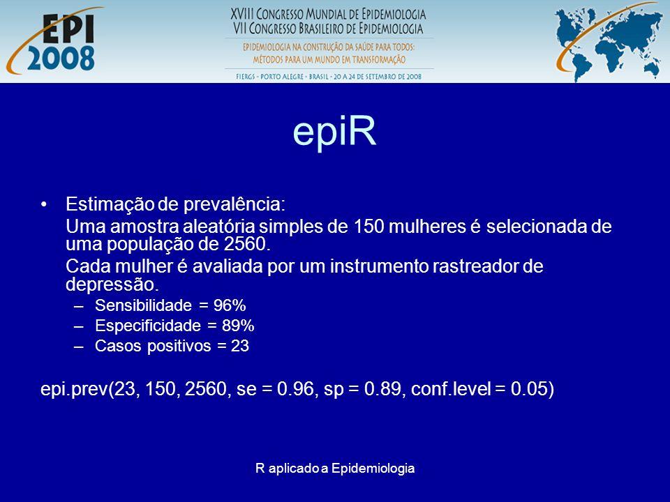 R aplicado a Epidemiologia epiR Estimação de prevalência: Uma amostra aleatória simples de 150 mulheres é selecionada de uma população de 2560. Cada m
