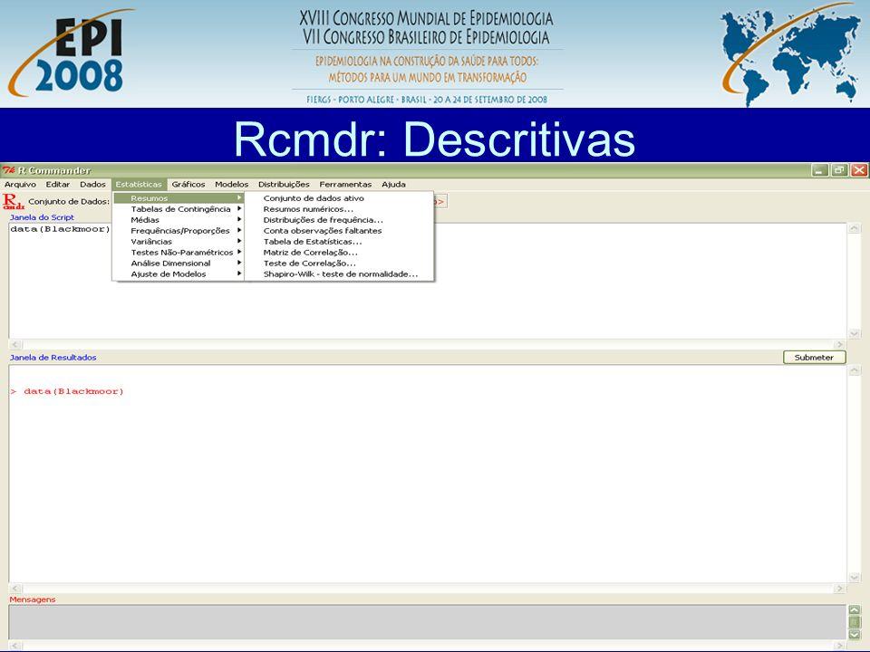 R aplicado a Epidemiologia Rcmdr: Descritivas