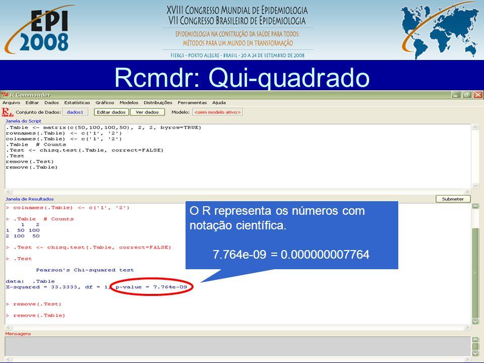 R aplicado a Epidemiologia Rcmdr: Qui-quadrado O R representa os números com notação científica. 7.764e-09 = 0.000000007764