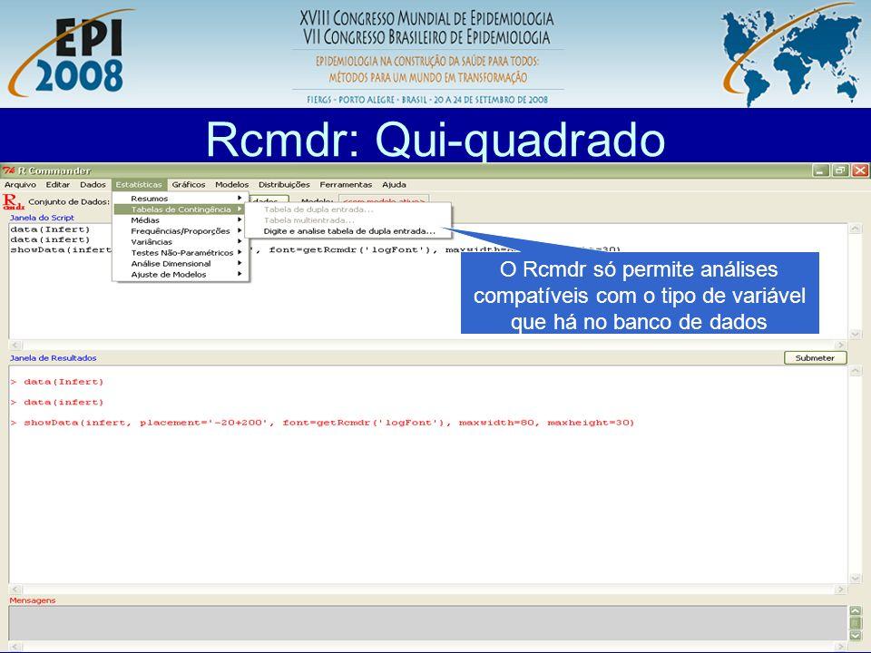 R aplicado a Epidemiologia Rcmdr: Qui-quadrado O Rcmdr só permite análises compatíveis com o tipo de variável que há no banco de dados