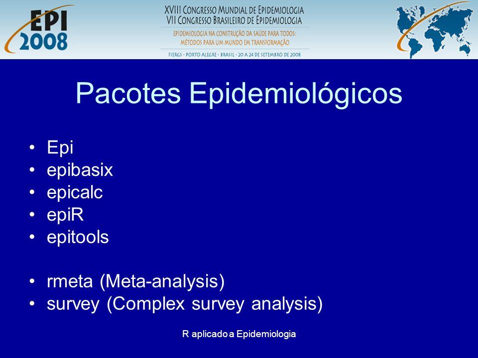 R aplicado a Epidemiologia Pacotes Epidemiológicos Epi epibasix epicalc epiR epitools rmeta (Meta-analysis) survey (Complex survey analysis)