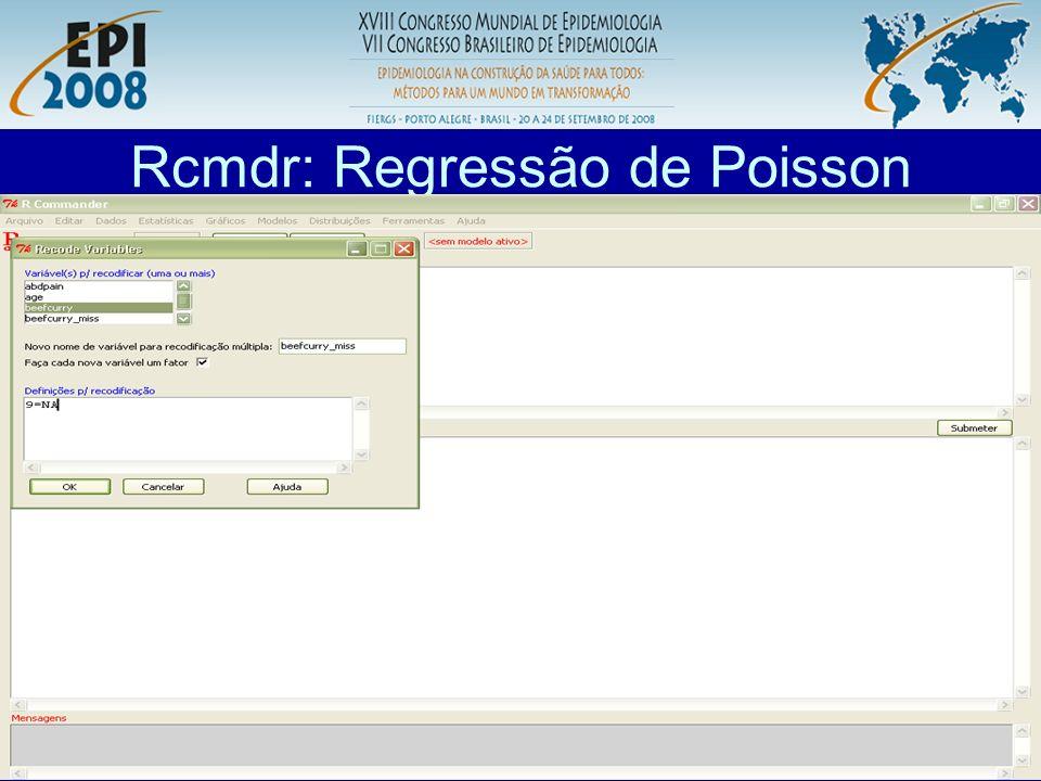 R aplicado a Epidemiologia Rcmdr: Regressão de Poisson