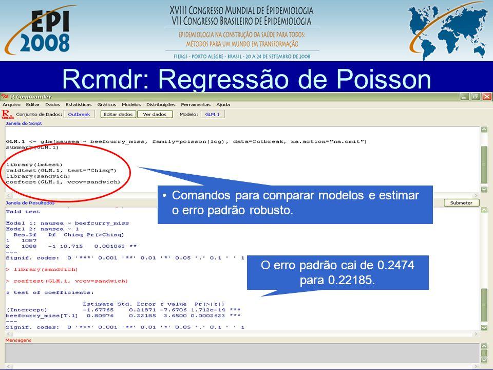 R aplicado a Epidemiologia Rcmdr: Regressão de Poisson Comandos para comparar modelos e estimar o erro padrão robusto. O erro padrão cai de 0.2474 par