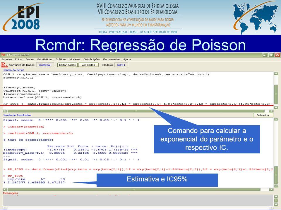 R aplicado a Epidemiologia Rcmdr: Regressão de Poisson Comando para calcular a exponencial do parâmetro e o respectivo IC. Estimativa e IC95%