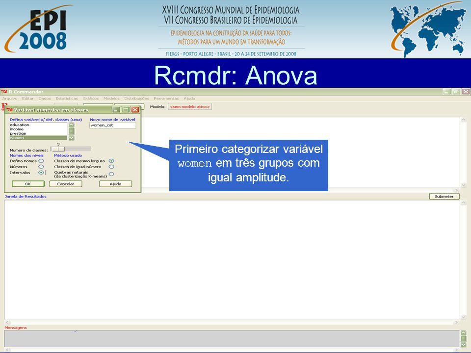 R aplicado a Epidemiologia Rcmdr: Anova Primeiro categorizar variável women em três grupos com igual amplitude.