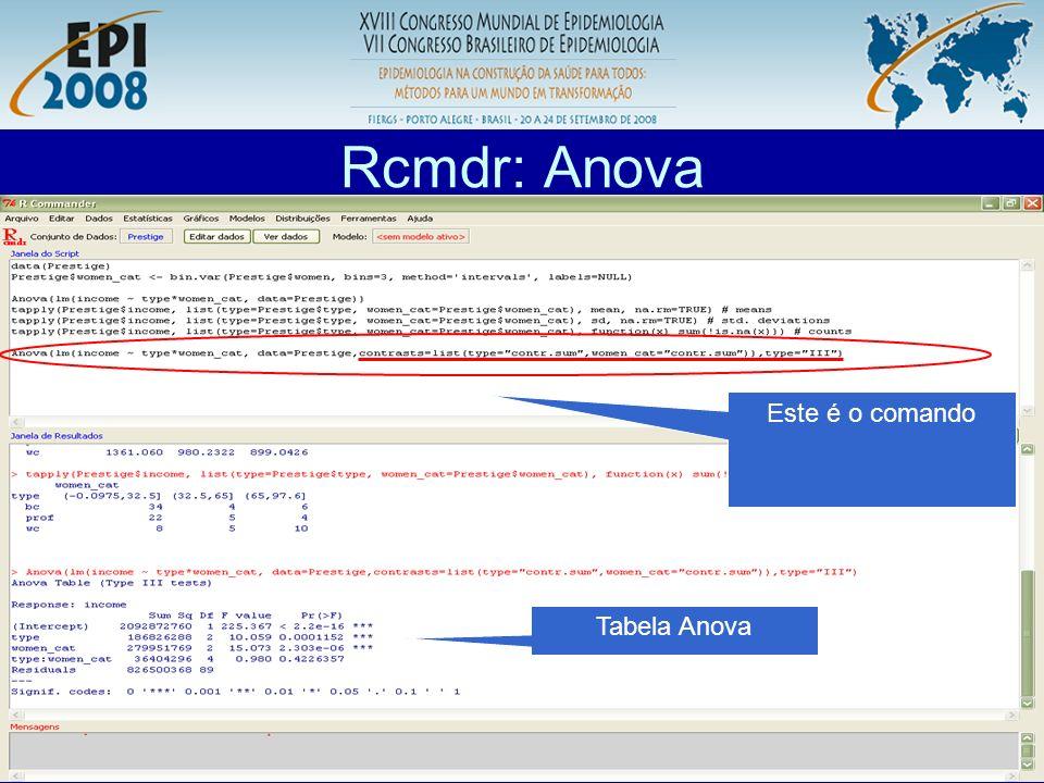 R aplicado a Epidemiologia Rcmdr: Anova Este é o comando Tabela Anova
