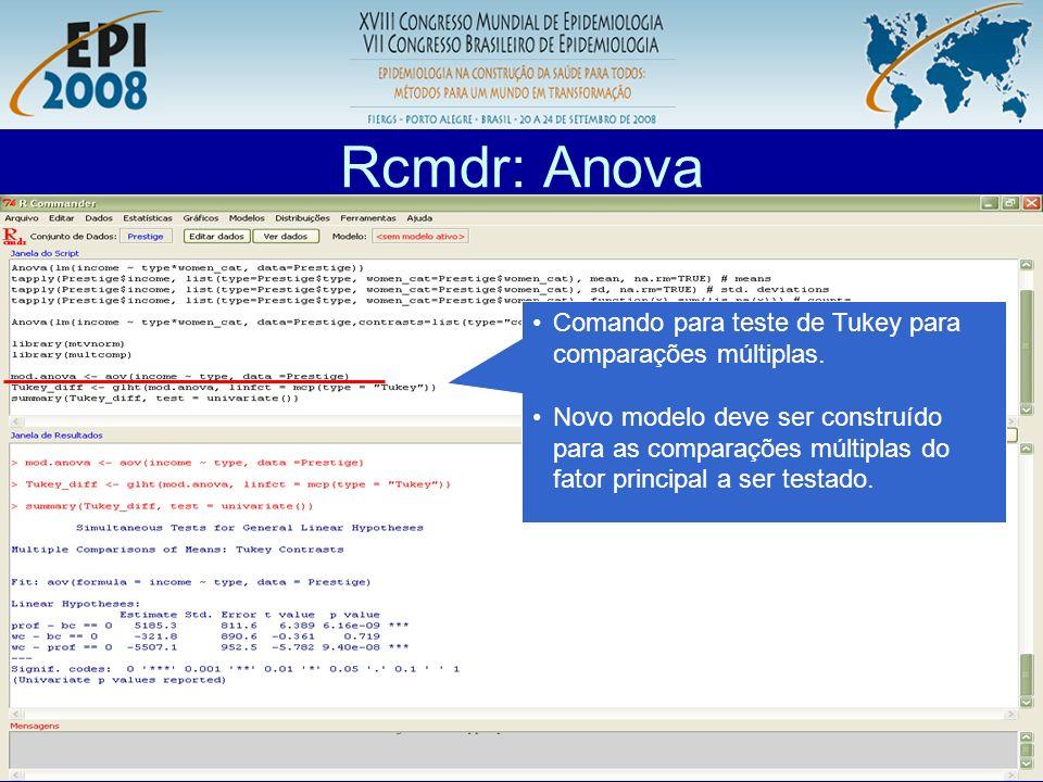 R aplicado a Epidemiologia Rcmdr: Anova Comando para teste de Tukey para comparações múltiplas. Novo modelo deve ser construído para as comparações mú