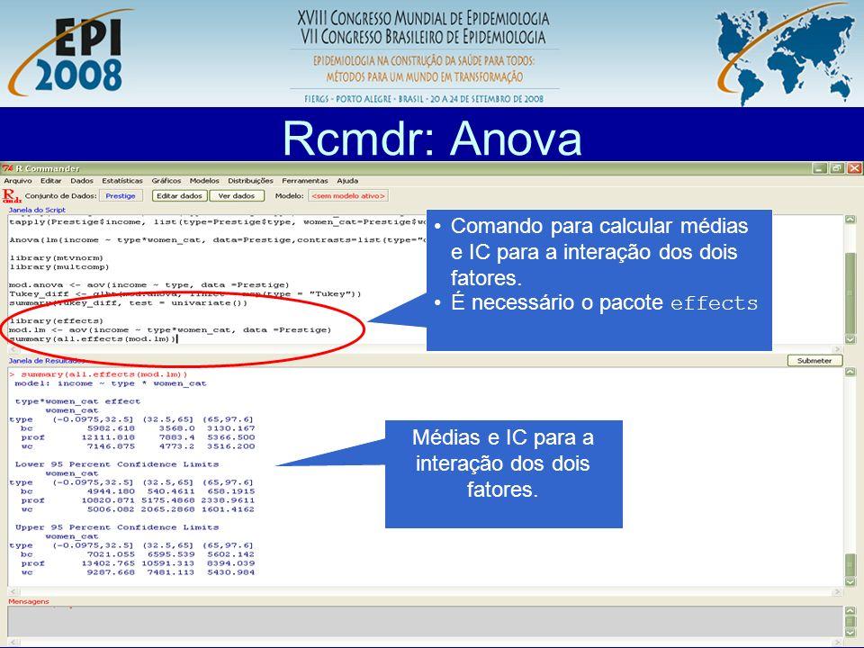 R aplicado a Epidemiologia Rcmdr: Anova Médias e IC para a interação dos dois fatores. Comando para calcular médias e IC para a interação dos dois fat