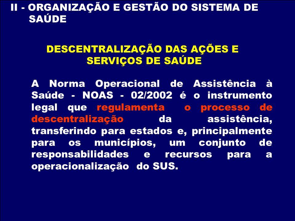 II - ORGANIZAÇÃO E GESTÃO DO SISTEMA DE SAÚDE DESCENTRALIZAÇÃO DAS AÇÕES E SERVIÇOS DE SAÚDE A Norma Operacional de Assistência à Saúde - NOAS - 02/20