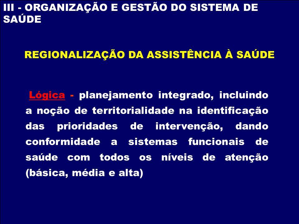 III - ORGANIZAÇÃO E GESTÃO DO SISTEMA DE SAÚDE Lógica - planejamento integrado, incluindo a noção de territorialidade na identificação das prioridades