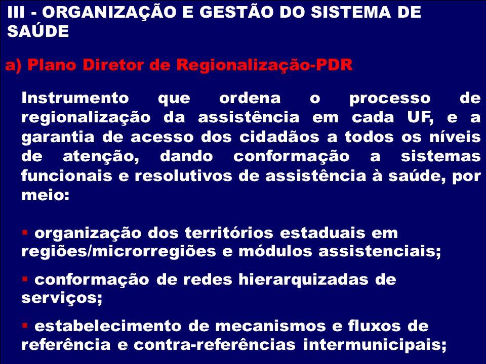 III - ORGANIZAÇÃO E GESTÃO DO SISTEMA DE SAÚDE a) Plano Diretor de Regionalização-PDR Instrumento que ordena o processo de regionalização da assistênc