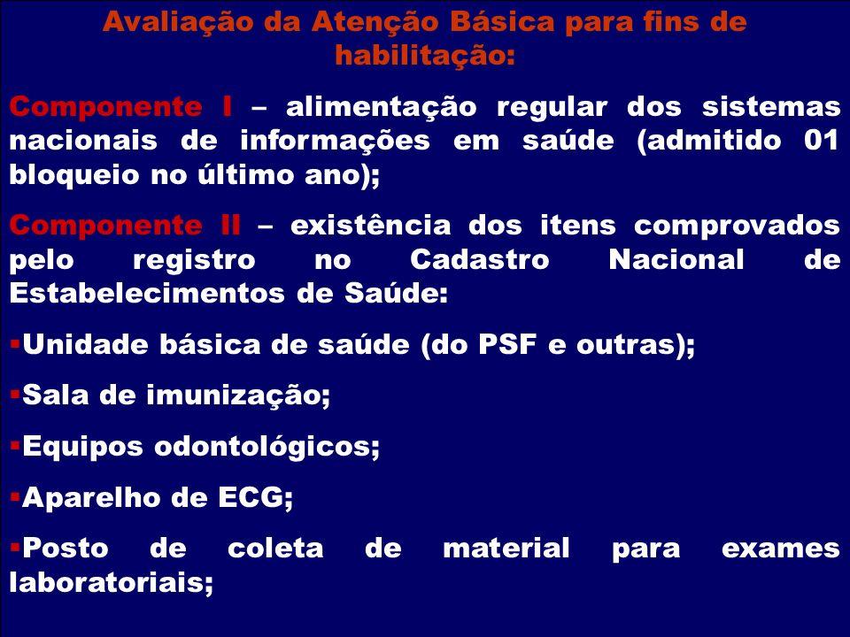 Avaliação da Atenção Básica para fins de habilitação: Componente I – alimentação regular dos sistemas nacionais de informações em saúde (admitido 01 b