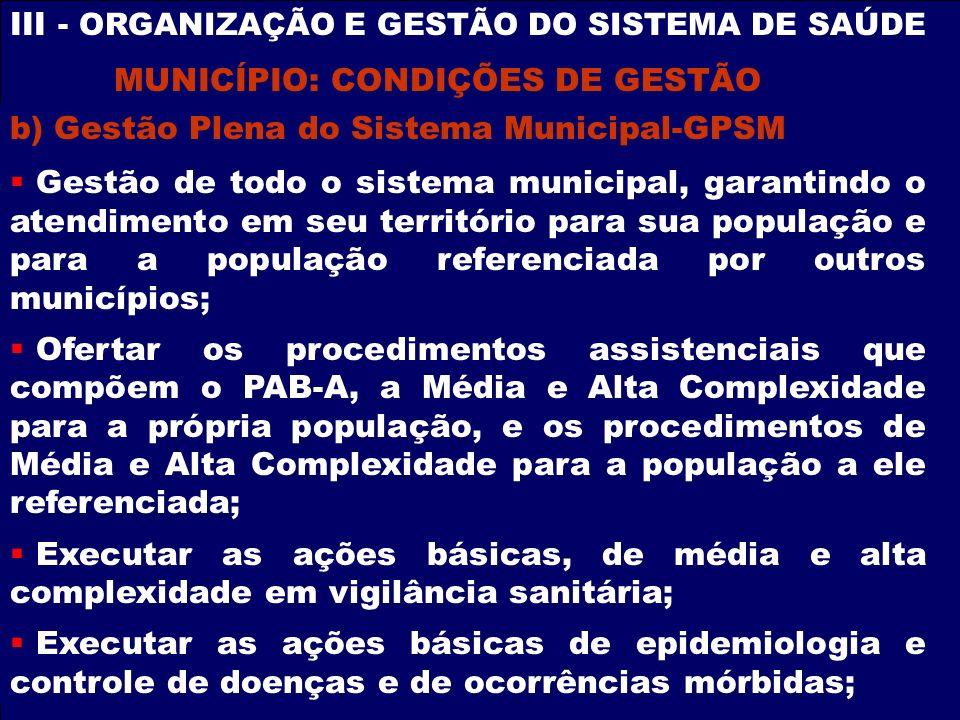 III - ORGANIZAÇÃO E GESTÃO DO SISTEMA DE SAÚDE b) Gestão Plena do Sistema Municipal-GPSM Gestão de todo o sistema municipal, garantindo o atendimento