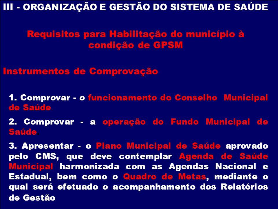 III - ORGANIZAÇÃO E GESTÃO DO SISTEMA DE SAÚDE Requisitos para Habilitação do município à condição de GPSM Instrumentos de Comprovação 1. Comprovar -