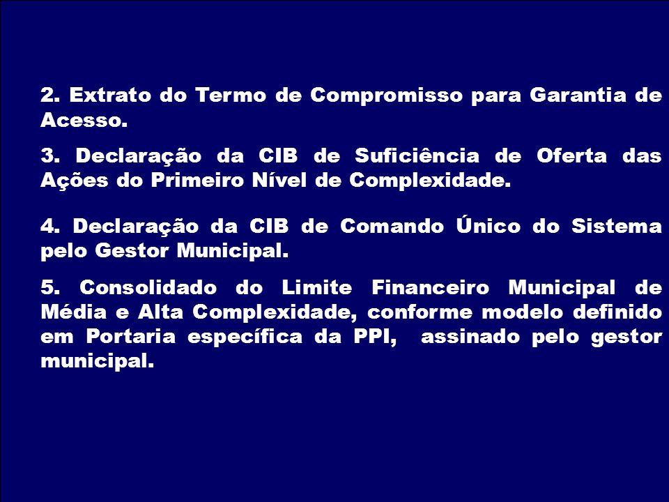 2. Extrato do Termo de Compromisso para Garantia de Acesso. 3. Declaração da CIB de Suficiência de Oferta das Ações do Primeiro Nível de Complexidade.